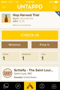 Untappd of Schlafly Hop Harvest Trial