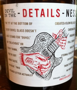 Back label of my Duvel
