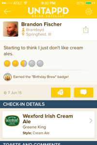 Untappd Check-in of Wexford Cream Ale